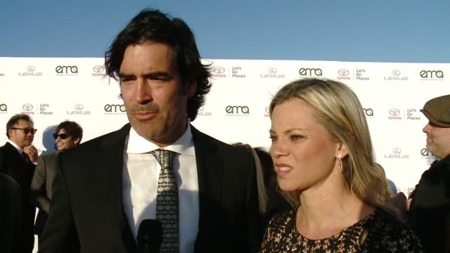 interview carter oosterhouse and amy smart on why now more than ever it's important to support environment causes on what messages they have for the... - バーカーハンガー点の映像素材/bロール