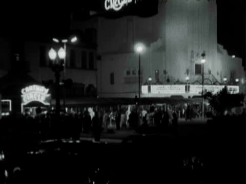 montage carthay circle theater building and marquee with lights / los angeles, california, united states - film premiere stock videos and b-roll footage