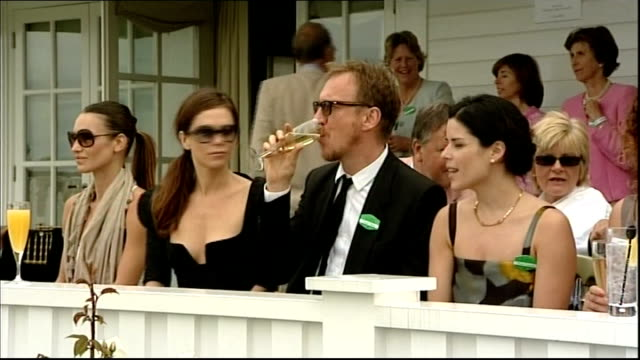 vídeos de stock e filmes b-roll de cartier international polo day various shots of damian lewis helen mccrory neve campbell and tara smith anna friel and david thewlis in box dervla... - neve campbell