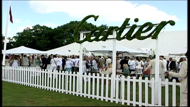celebrities out in force england berkshire windsor great park ext general view of crowd of guests at cartier international polo match standing behind... - andrew lloyd webber stock videos and b-roll footage