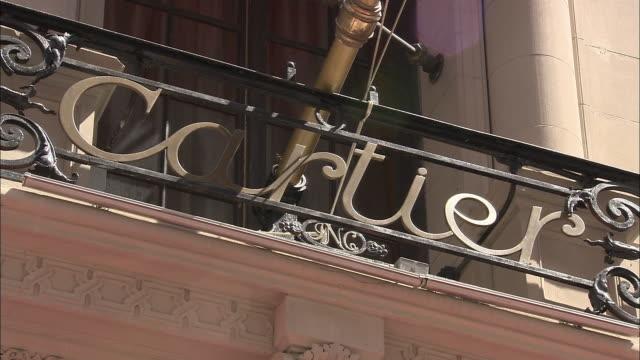 cu, cartier sign on building exterior, new york city, new york, usa - cartier video stock e b–roll