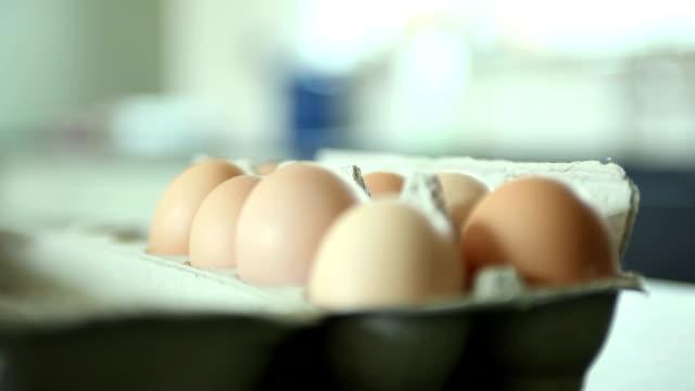 cu focusing carton of organic eggs on kitchen counter, yarmouth, maine, usa - 少数の物点の映像素材/bロール
