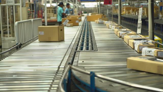 i cartoni vengono trasportati su un nastro trasportatore del settore, applicabile a lavori che coinvolgono lo shopping online o l'automazione che riducono il lavoro manuale. e sostituito da macchine - nastro trasportatore video stock e b–roll