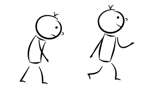 cartoon: 2 men - sad and happy walking - symbol stock videos & royalty-free footage