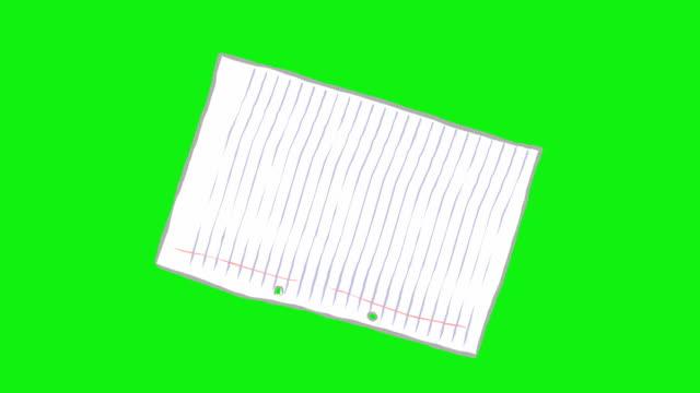 vidéos et rushes de dessin animé papier a4 de vrilles et rebondit à écran plat. - objet en papier