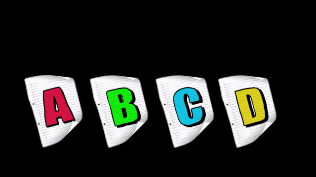 Cartoon  A4 paper with letters ABCD dances the can-can.