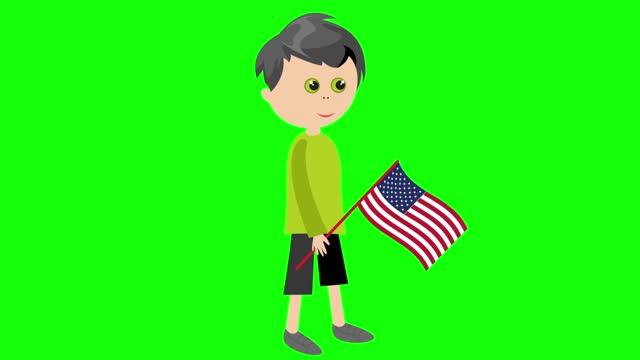 漫画アニメーション少年/アメリカ国旗付き - 特殊効果点の映像素材/bロール