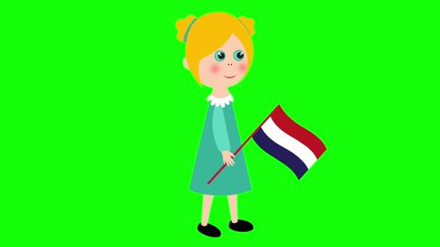 漫画アニメーションの女の子 / オランダの旗付き - 特殊効果点の映像素材/bロール