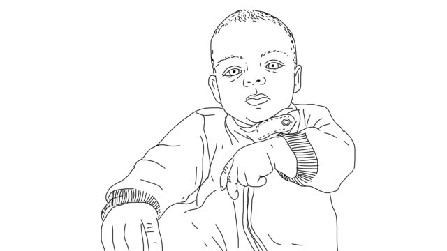 cartoon animation of gesticulating baby boy - line art video stock e b–roll