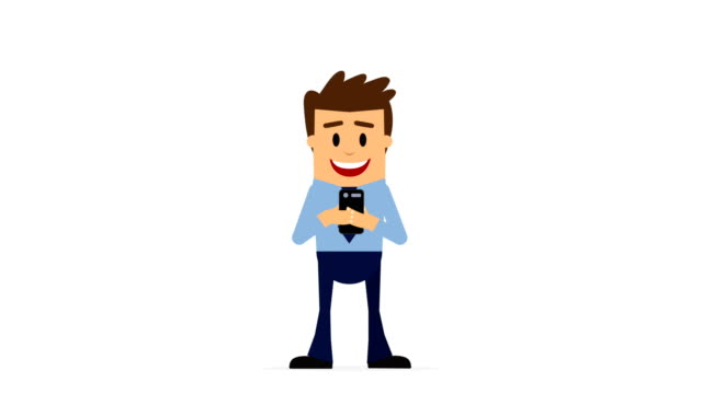 cartoon businessman messaging, all business updates get sent straight to his phone, 4k animation, alpha channel, loopable. - cartoon stock videos & royalty-free footage
