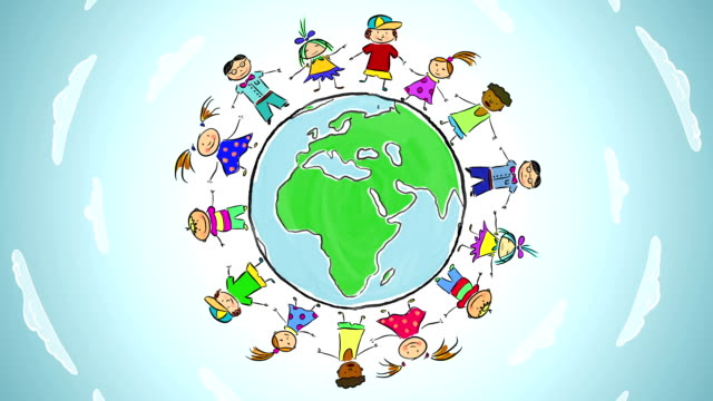 Cartoon: Children dance around the world