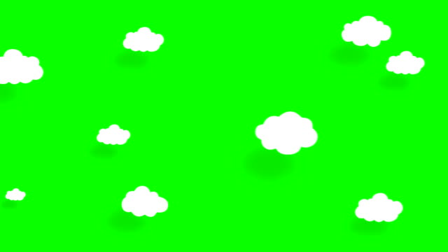 4k cartoon clouds, flat animation. green screen, chroma key. - springtime stock videos & royalty-free footage
