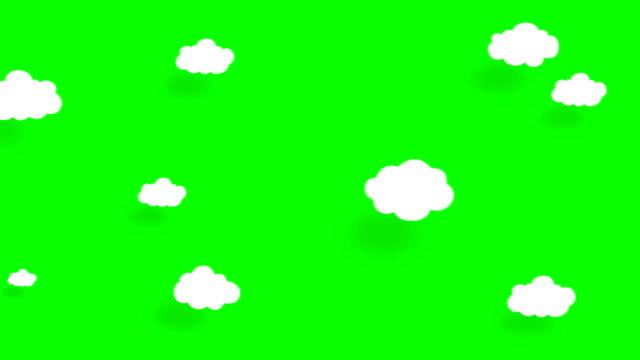 4k cartoon clouds, flat animation. green screen, chroma key. - flower stock videos & royalty-free footage