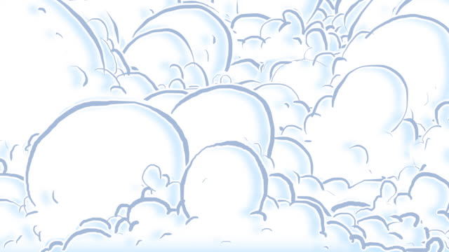 Cartoon clouds part to reveal greenscreen