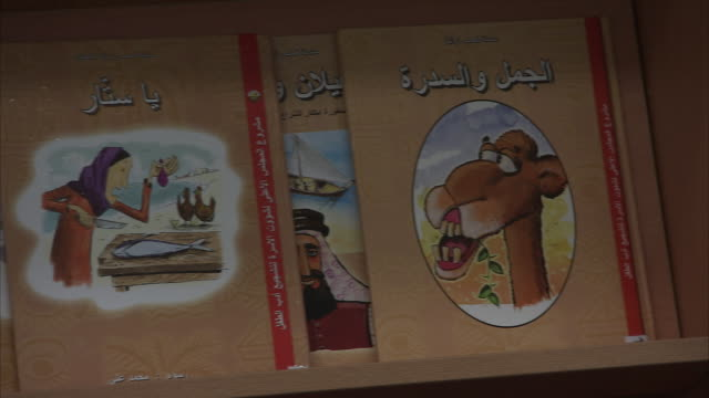 CU PAN Cartoon corrector covers of books in tilted shelf / Doha, Qatar