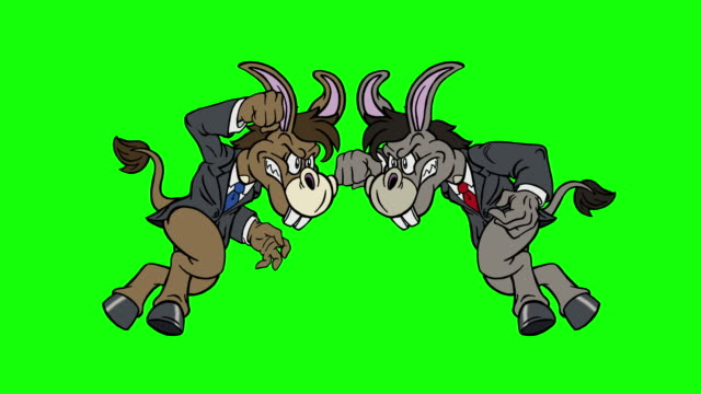 cartoon democrat donkey vs democrat donkey on green screen - legislator stock videos & royalty-free footage