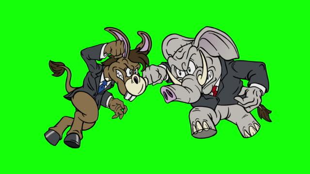 cartoon democrat donkey vs republican elephant on green screen - legislator stock videos & royalty-free footage