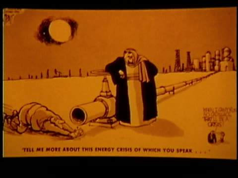 vídeos de stock, filmes e b-roll de cartoon depicting us dependency on foreign oil, usa, audio - 1973