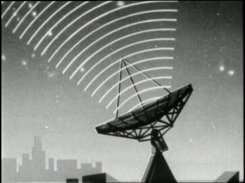 vídeos y material grabado en eventos de stock de a cartoon depicts radio waves coming from space and being received by satellite dishes - radio