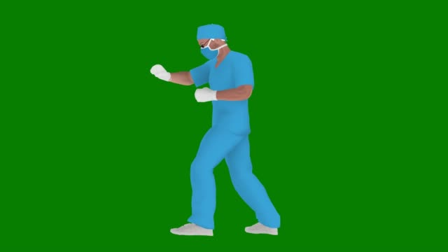 vídeos de stock e filmes b-roll de cartoon doctor using mask is punching coronavirus on green screen (covid-19, 2019-ncov) or something else animation - fundo verde