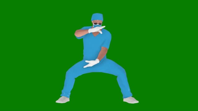 vídeos de stock e filmes b-roll de cartoon doctor using mask is relaxing animation on green screen - personas