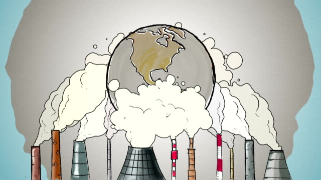 cartoon earth globe polluted by smoke from tubes - ecosystem stock videos & royalty-free footage