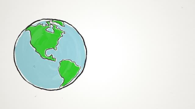 Cartoon Earth globe spinning and jumping