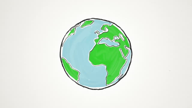 cartoon earth globe spinning, loopable - globe navigational equipment stock videos and b-roll footage