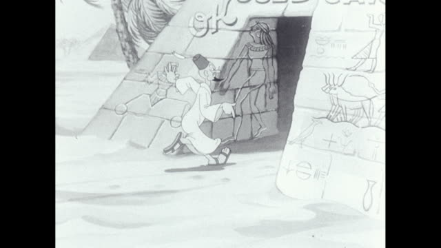 MS TS Cartoon, Egypt, man greeting people to pyramid who then drive out the other side in a used car/ United States