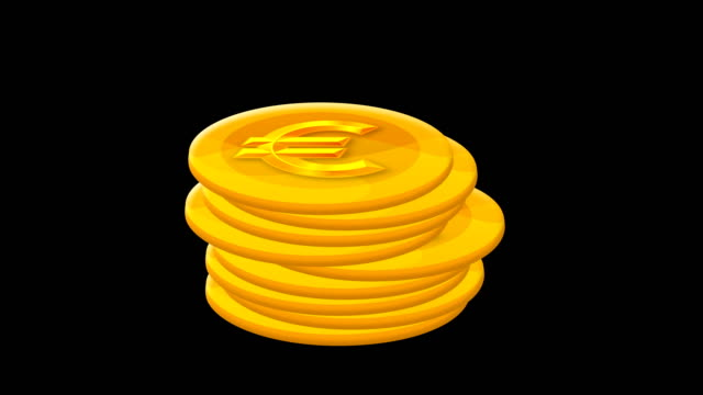 cartoon euro coin counting isolated - alpha channel - coin stock videos & royalty-free footage
