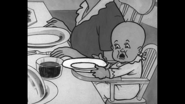 """cartoon family seated at a dinner table; the father prepares to carve the turkey labeled """"family income"""" / a family of grotesques labeled, """"federal... - cartoon stock videos & royalty-free footage"""