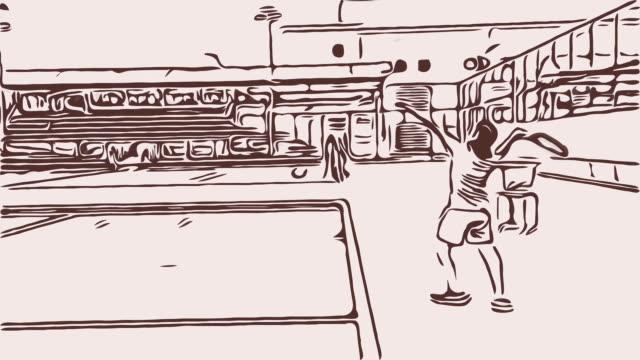 vídeos de stock e filmes b-roll de cartoon female tennis player serve - hitting