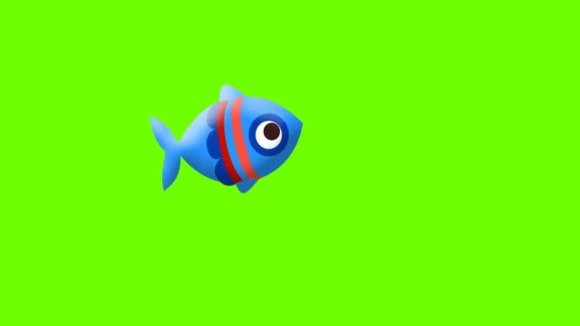cartoon fish on greenscreen - alga video stock e b–roll