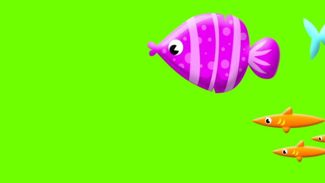 cartoon fishes on greenscreen - aquatic organism stock videos & royalty-free footage