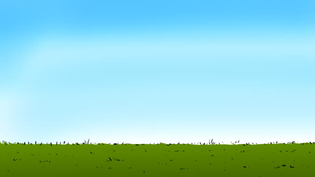 Cartoon grass line with clear sky