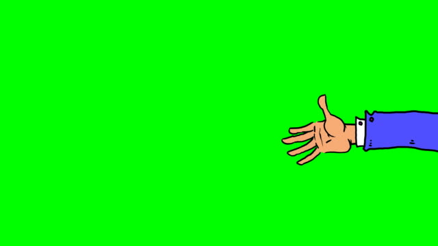 cartoon hand waving from various angles and sizes - matte image technique stock videos & royalty-free footage