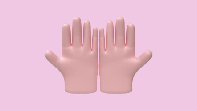 vídeos de stock, filmes e b-roll de mãos de desenho animado duas mãos movimento 3d render - number 3
