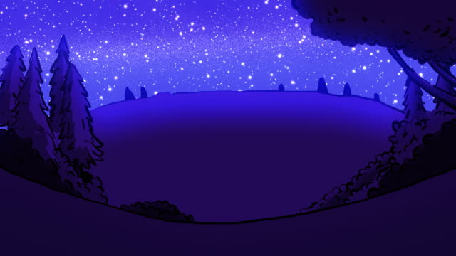 Cartoon landscape at night with trees.