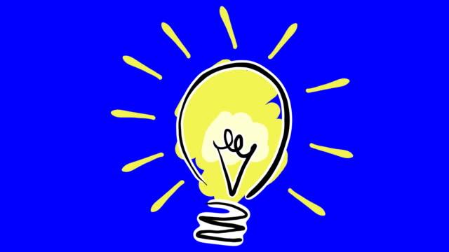 Cartoon Lightbulb Drawns On Screen And Lights Up Stock Footage Video