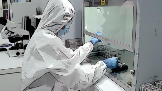 カートゥーン描画水彩線画 :科学者は滅菌室で防護服を着用し、実験でピペットを使用 - pipette点の映像素材/bロール