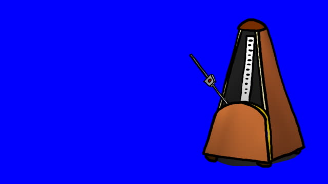 Cartoon metronome on blue screen for keying