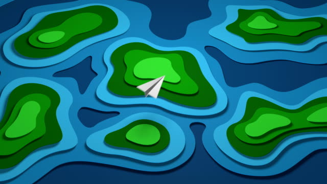 cartoon paper map. islands in the sea. 4k animation. - sea robin stock videos & royalty-free footage