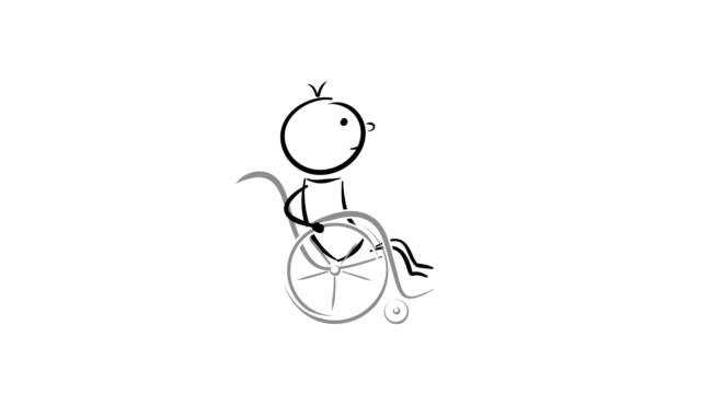 cartoon: paralyzed disabled man on creaking wheelchair. - wheelchair stock videos & royalty-free footage