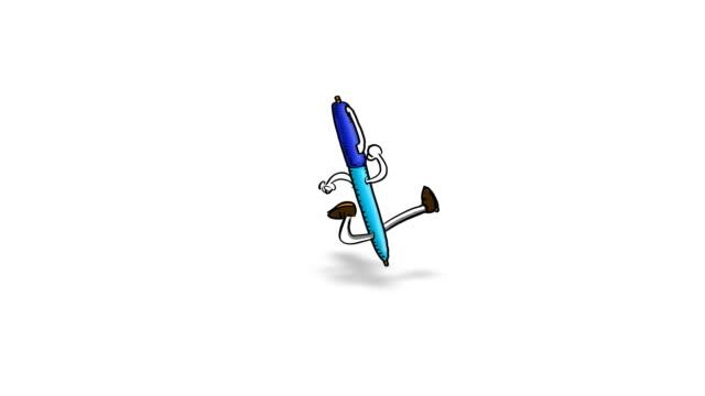 vidéos et rushes de stylo dessin animé s'étend sur écran - stylo