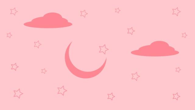 4k漫画 ピンクスカイ、スリープアニメーション ループ可能 - 可愛らしい点の映像素材/bロール