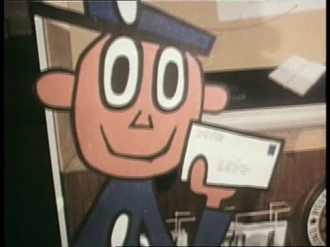 cartoon postal worker mr. zip advertises zip codes. - post office stock videos & royalty-free footage