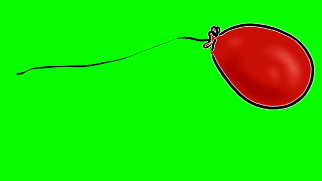 cartoon red balloon on greenscreen - string stock videos and b-roll footage
