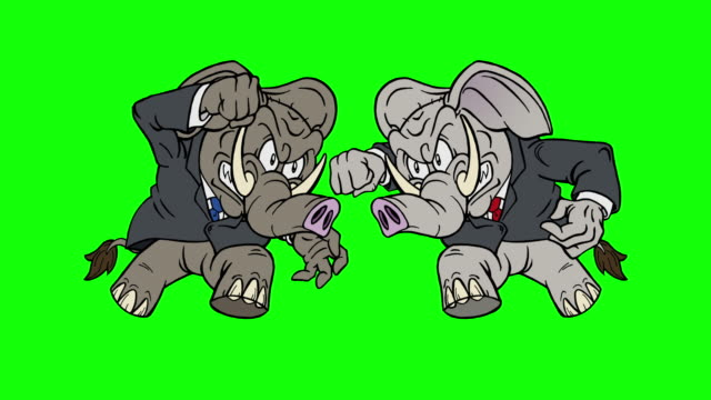 cartoon republican elephant vs republican elephant on green screen - legislator stock videos & royalty-free footage