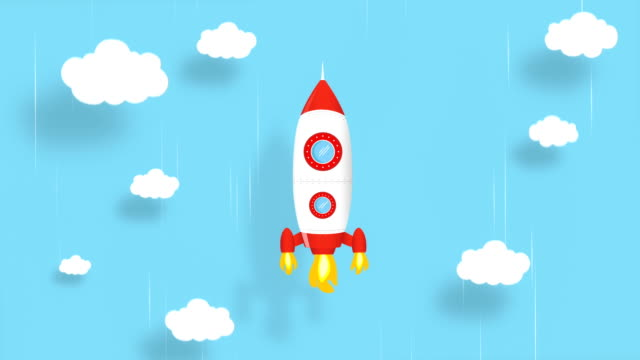 4k cartoon rocket ship flying on blue background. loopable animation. alpha luma matte included. - cloud matte stock videos & royalty-free footage