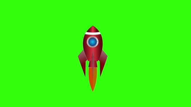 cartoon rocket ship flying on green screen background. isolated flash animation - missile stock videos & royalty-free footage